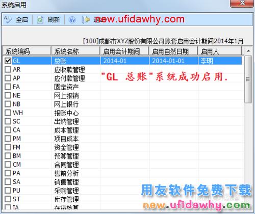 用友U8V10.1ERP怎么启用或关闭总账系统的图文操作教程 用友知识库 第6张图片